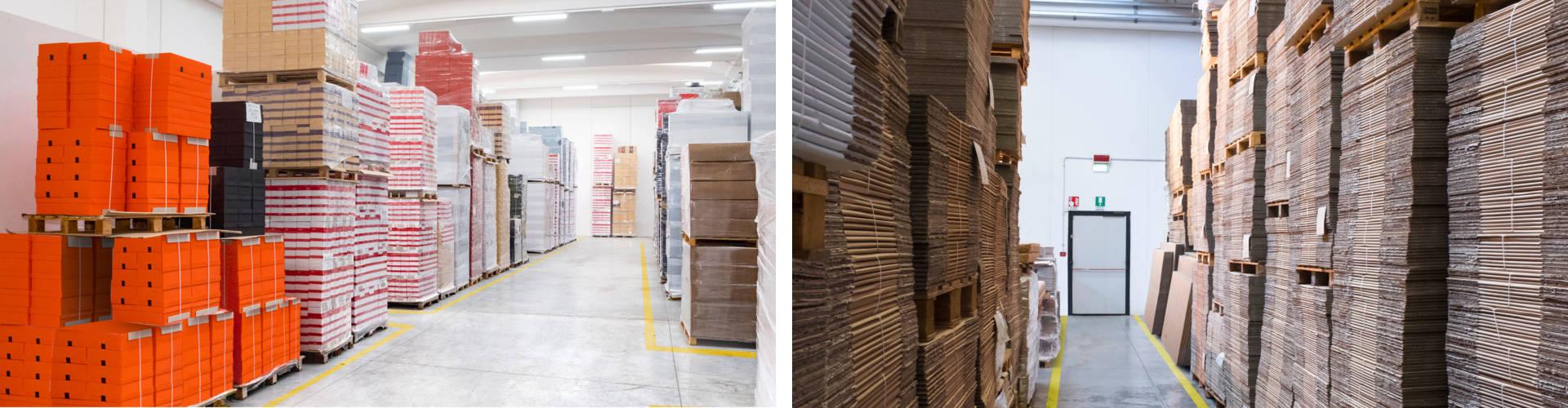 Logistica scatole su misura e cartoni ondulati.