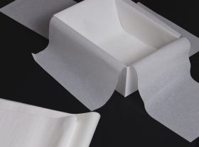 Box with tissues. Custom-made boxes and wavy cartons